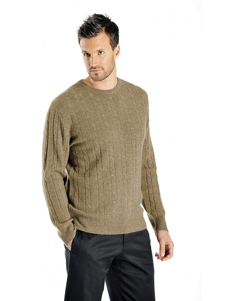 Cashmere Boutique Men's 100% Pure Cashmere Cable Pullover Sweater in Crew Neck 3 Colors Sizes S M L XL at  Men's Clothing store Pullover Sweaters