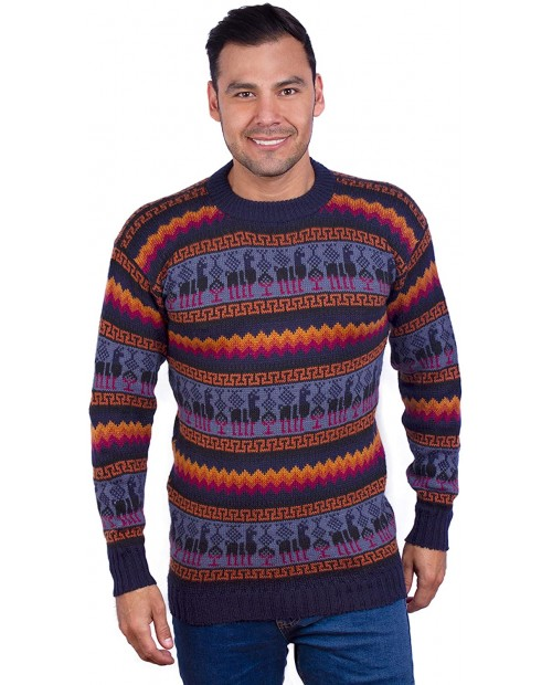 INTI ALPACA Crewneck Navy Blue Alpaca Sweater for Men - Winter Pullover X-Large at  Men's Clothing store