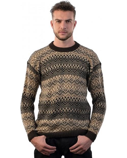 INTI ALPACA Men's Crewneck Fair Isle Alpaca Sweater in Brown Tones Lavaredo at  Men's Clothing store