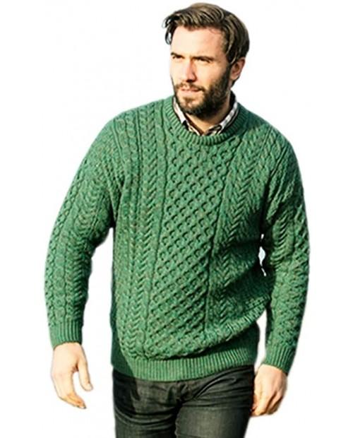 Mens Aran Sweater Made in Ireland 100% Real Irish Wool Green at  Men's Clothing store