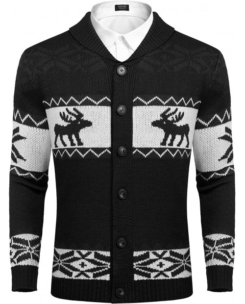 COOFANDY Mens Christmas Reindeer Snowflake Cardigan Sweater Shawl Collar Knitted Cardigans Button Down Knitwear at  Men's Clothing store