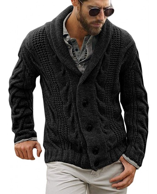 Gafeng Mens Shawl Collar Cable Rib Knitted Button Closure Casual Winter Chunky Thermal Long Sleeve Solid Cardigan Sweater at  Men's Clothing store