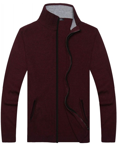 JINIDU Men's Full Zip Up Cardigan Sweater Casual Slim Fit Cotton Sweater with Pockets Burgundy Red at  Men's Clothing store