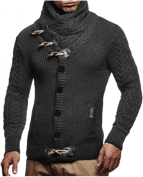 JINIDU Men's Knitted Cotton Pullover Hoodie Long Sleeve Turtleneck Sweater