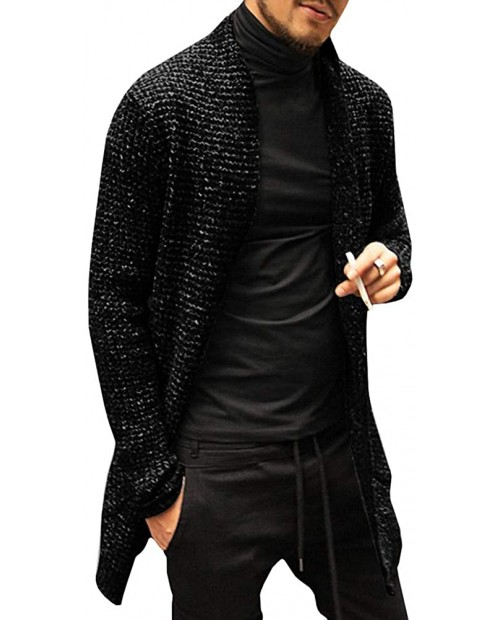 Karlywindow Mens Cardigan Sweater Long Sleeve Open Front Shawl Collar Fall Winter Chunky Knit Cardigans at Men's Clothing store