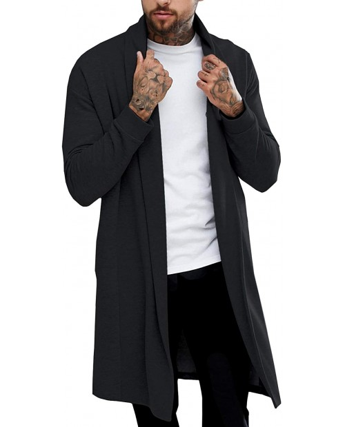 Pacinoble Men's Shawl Casual Cardigan Long Sleeve Drape Cape Lightweight Open Front Long Length Cardigan at  Men's Clothing store