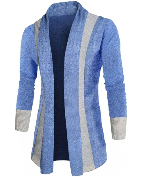 uxcell Men Shawl Collar Contrast Color Knit Cardigan at Men's Clothing store