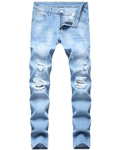 LONGBIDA Mens Ripped Slim Fit Distressed Skinny Moto Designer Jeans Denim Biker Pants at Men's Clothing store