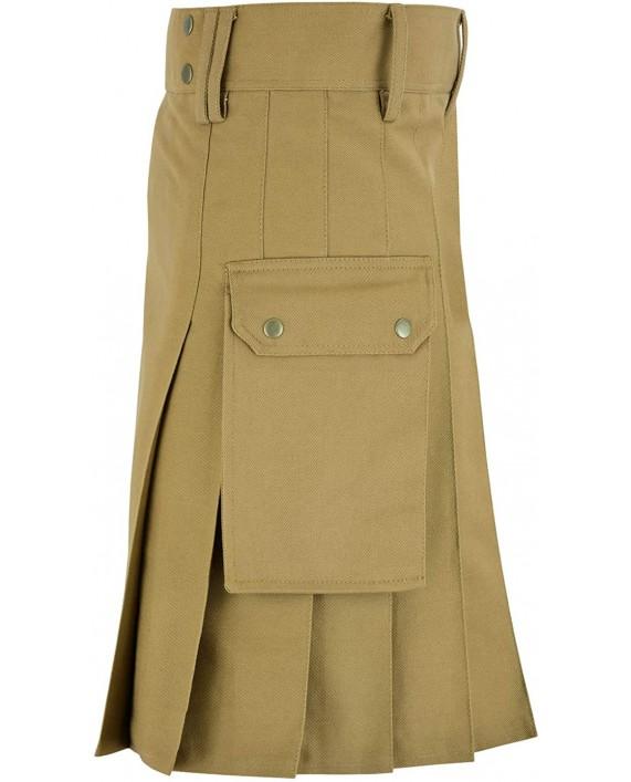MajesticUSA ''The Utility'' Scottish Kilt Mens Traditional Wedding Kilts Denim Jeans - Bonus Kilt Flashes at Men's Clothing store