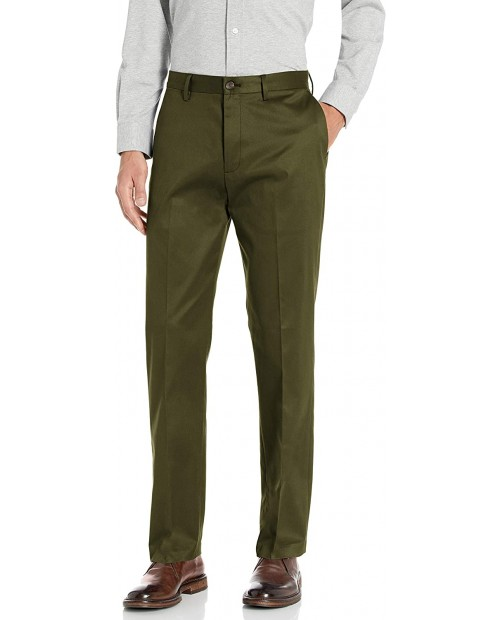 Brand - Buttoned Down Men's Relaxed Fit Flat Front Non-Iron Dress Chino Pant Olive 33W x 34L
