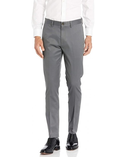 Brand - Buttoned Down Men's Skinny Fit Non-Iron Dress Chino Pant Dark Grey 34W x 32L