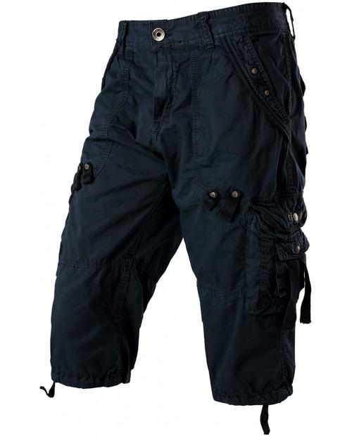 PARKLEES Mens Casual Long Cargo Shorts Slim Fit Multi Pockets Cotton 3 4 Capri Pants |