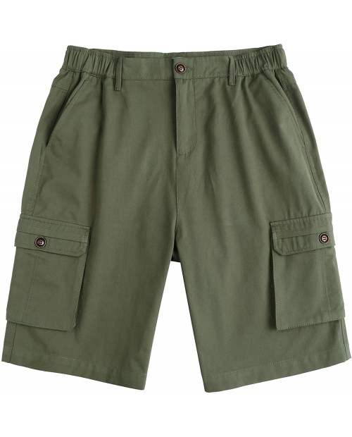 Tinkwell Men's Relaxed Fit Cargo Shorts Elastic Waist Big Pockets Classic Casual Work Short