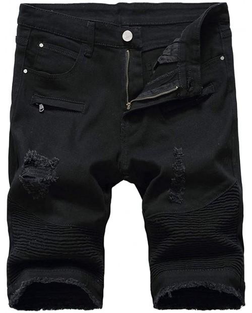 Baylvn Men's Casual Fashion Ripped Short Jeans Slim Fit Denim Short at Men's Clothing store