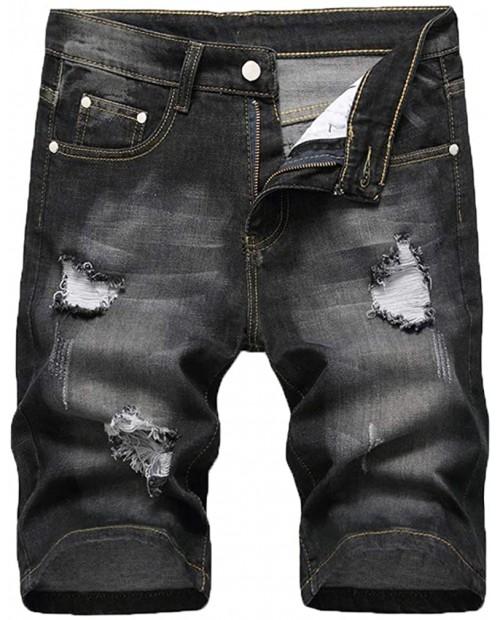 Cofouen Men's Ripped Short Jeans Casual Slim Fit Denim Shorts Summer Distressed Jean Pants at Men's Clothing store
