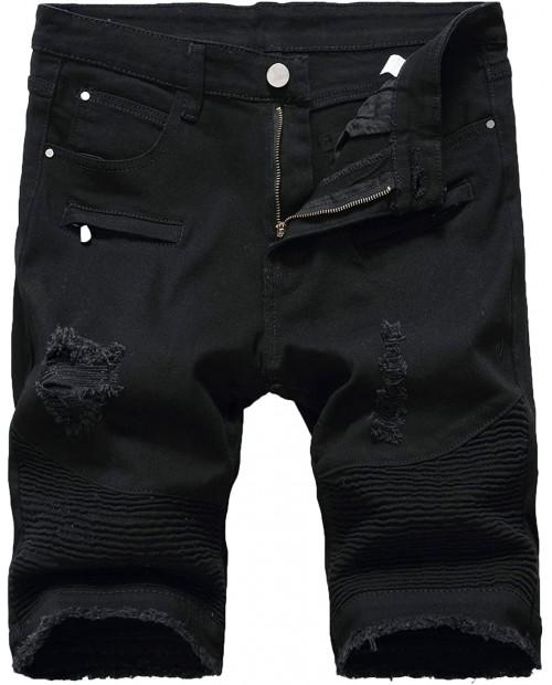 Enrica Men's Ripped Distressed Slim Fit Holes Denim Shorts at Men's Clothing store