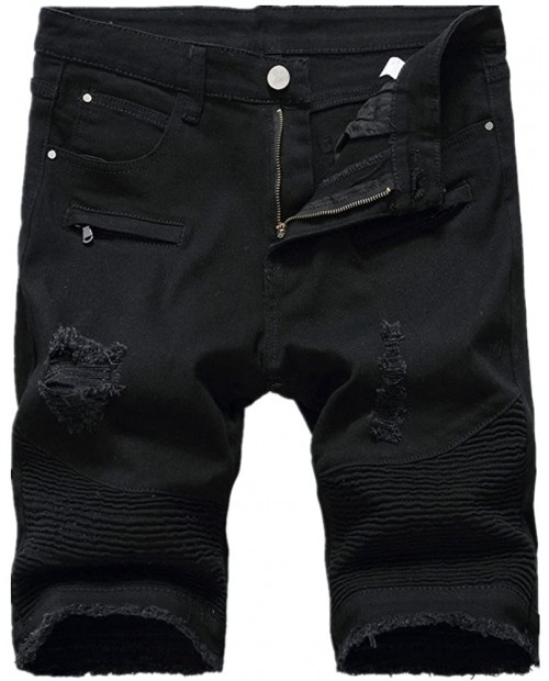 Kalanman Men's Fashion Summer Ripped Destroyed Distressed Short Jeans Straight Denim Shorts at Men's Clothing store