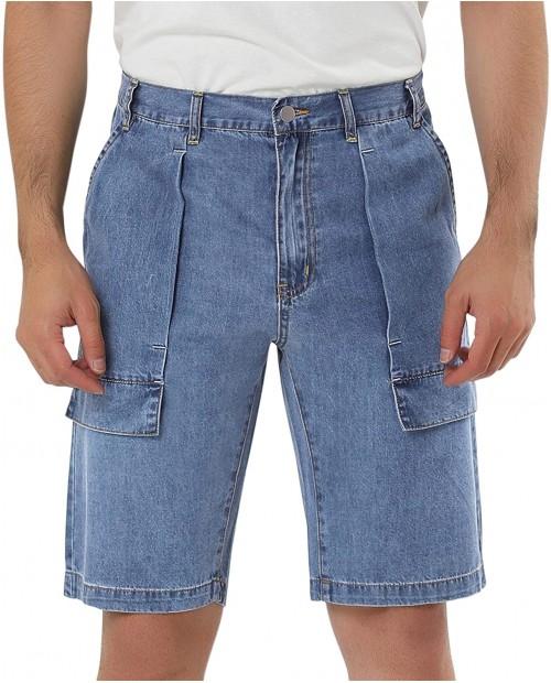Lars Amadeus Men's Short Jeans Straight Fit Big Pockets Casual Cotton Cargo Denim Shorts at Men's Clothing store