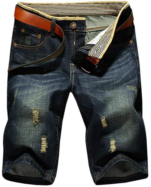 LATUD Men's Casual Denim Shorts No Belt at Men's Clothing store