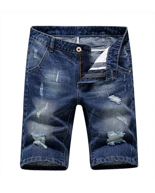 Men's Denim Shorts Jeans Pants 5 Pocket Casual Ripped Distressed Slim Fit for Men at Men's Clothing store