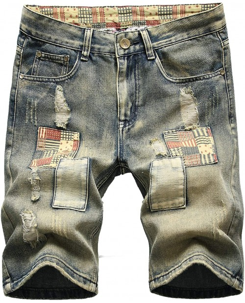 NITAGUT Men's Fashion Ripped Regular Fit Short Jeans Casual Denim Shorts at  Men's Clothing store