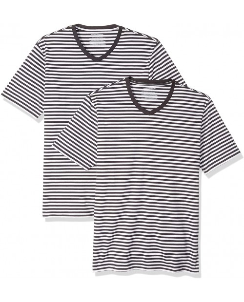 Essentials Men's Slim-fit Short-Sleeve Stripe V-Neck T-Shirts