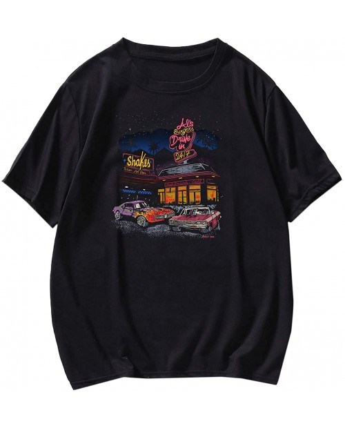 SOLY HUX Men's Letter Car Graphic Print Short Sleeve T Shirt Casual Tee Top  