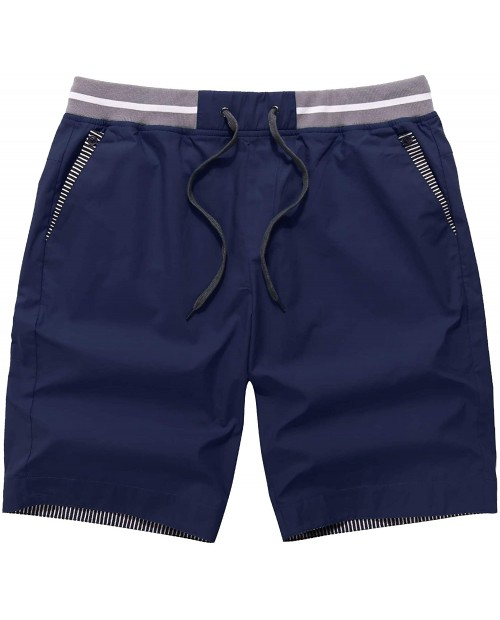 Tinkwell Men's Shorts Casual Cotton Classic Fit Drawstring with Elastic Waist Summer Beach Shorts at Men's Clothing store