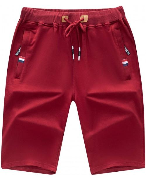 WULFUL Men's Casual Shorts Summer Workout Shorts Drawstring Elastic Waist at Men's Clothing store