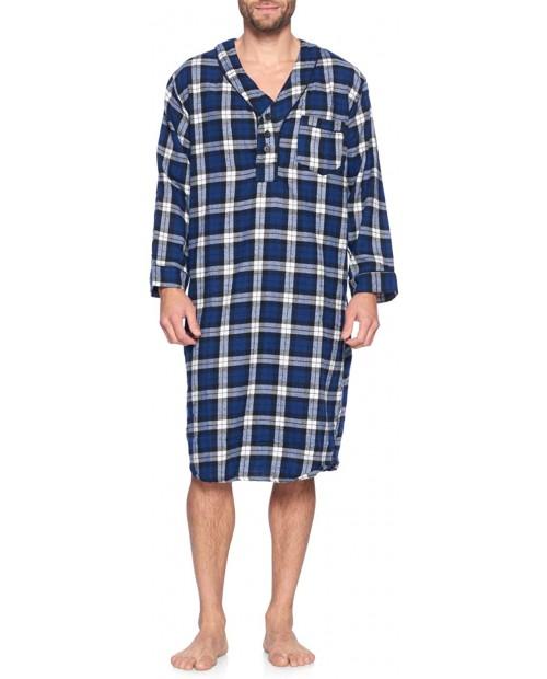 Ashford & Brooks Mens Flannel Plaid Long Sleep Shirt Henley Nightshirt at Men's Clothing store