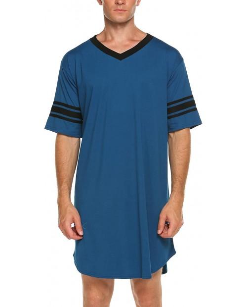 Ekouaer Men's Nightshirt Cotton Nightwear Comfy Big&Tall V Neck Short Sleeve Soft Loose Pajama Sleep Shirt at  Men's Clothing store