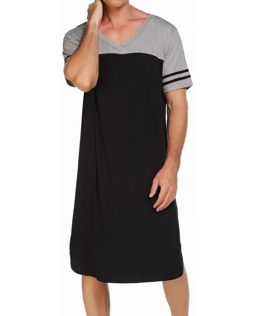 Ekouaer Nightgowns Mens V Neck Long Sleeve Sleepwear Big&Tall Pajama Sleeping Wear Loungewear Nightshirts M-XXXL at Men's Clothing store