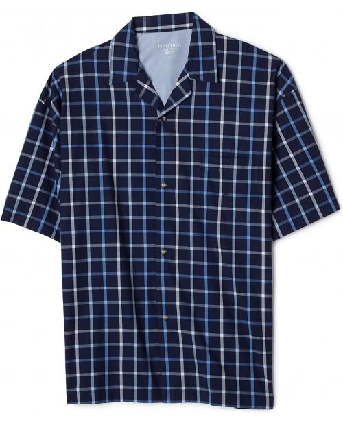Nautica Men's Light House Windowpane Comfort Woven Short Sleeve Camp Powder Blue Medium at Men's Clothing store Pajama Tops