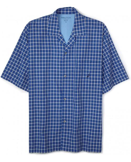 Nautica Men's Tiller Plaid Woven Campshirt at Men's Clothing store Pajama Tops