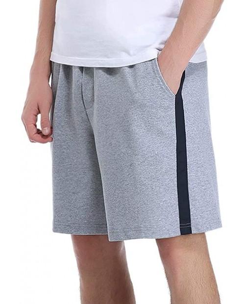Aibrou Mens Sleep Shorts 100% Cotton Pajama Shorts Solid Sleepwear Lounge Drawstring Workout Gym Shorts with Pockets Grey at Men's Clothing store