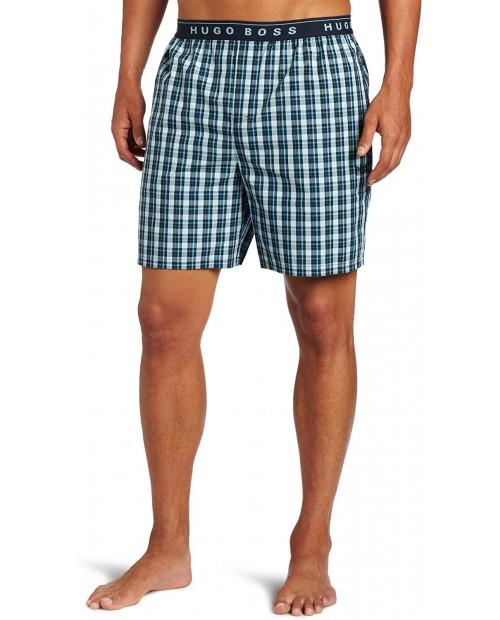 BOSS HUGO BOSS Men's Check Short Pant Blue Large at Men's Clothing store Pajama Bottoms