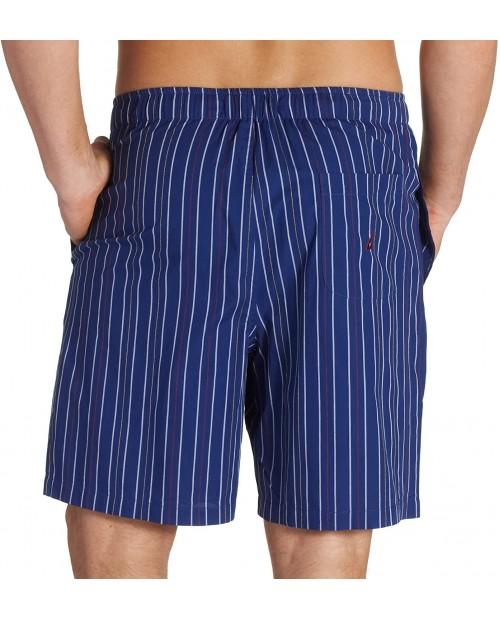 Nautica Men's Micro-Enzyme Woven Mainsail Stripe Sleep Short Navy Small at Men's Clothing store Pajama Bottoms