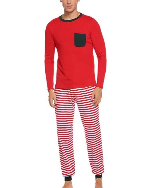 Aibrou Christmas Mens Matching Stripe Pajamas Set Long Sleeve Striped Sleepwear Pjs Sets at  Men's Clothing store