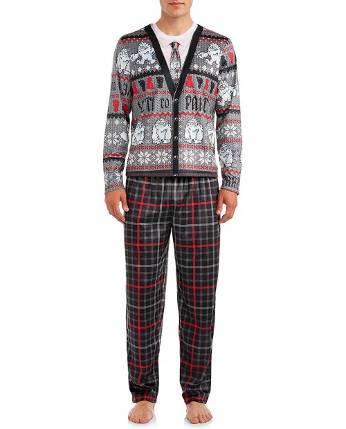 Briefly Stated Yeti to Party Men's 2 Piece Pajamas Set at Men's Clothing store