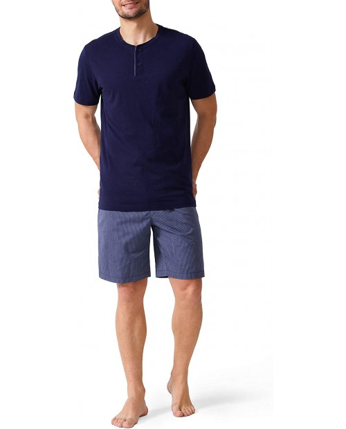 David Archy Men's Cotton Short Henley Sleepwear Pajamas Soft Comfortable Classic Button-Down Woven Summer Set