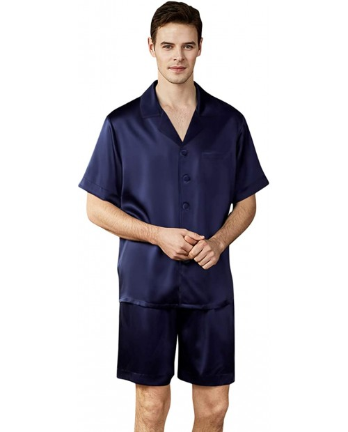 ElleSilk 100% Silk Pajama for Men Silk Shirts and Pants Set 22 Momme at  Men's Clothing store