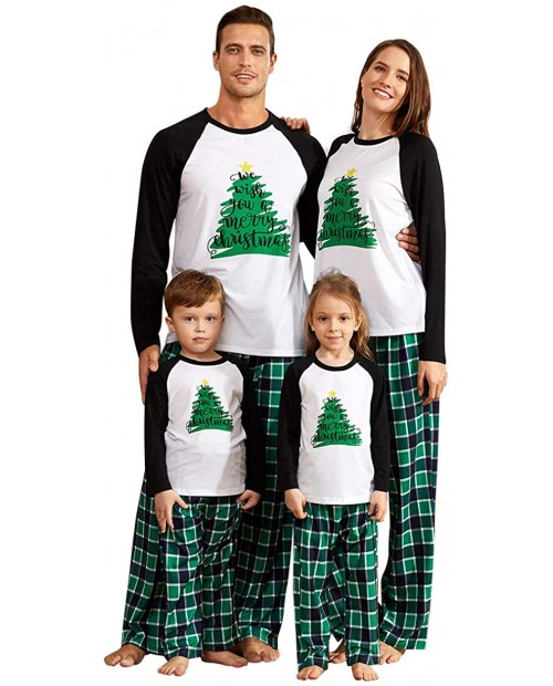 IFFEI Matching Family Pajamas Sets Christmas PJ's Holiday Christmas Tree Printed Sleepwear with Plaid Bottom