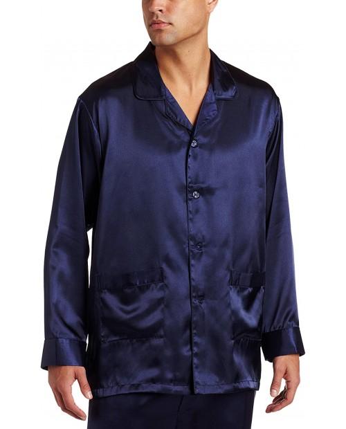 Intimo Men's Satin Pajama Sleep Top with Pockets at  Men's Clothing store Men S Black Silk Pajamas
