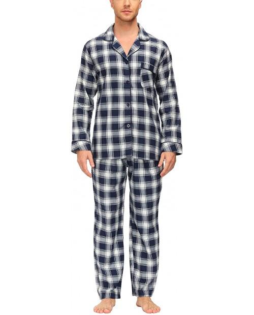 MoFiz Mens Pajamas Sets Sleep Pants Sleep Pajama Bottom Loungewear House PJS Plaid Cotton at Men's Clothing store