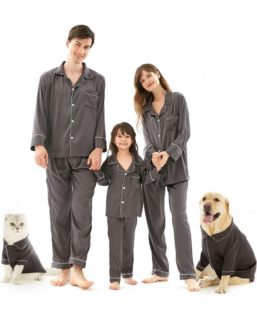 Silk Pajamas for Women & Men Christmas Silk Pjs Matching Satin Couple Set Family Sleepwear for Kids and Pets at Women's Clothing store
