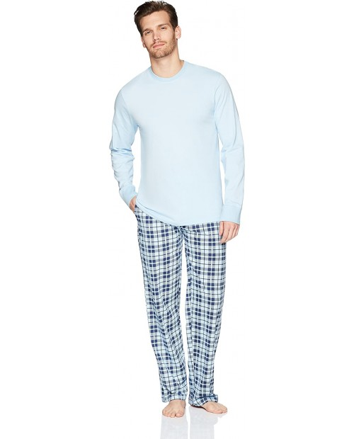 The Slumber Project Men's Cuffed Long Sleeve Tee and Pant Pajama Set Slim Fit
