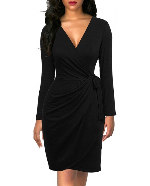 Berydress Women's Black Wrap Dress Sexy Deep V Neck Long Sleeve Knee-Length Cocktail Party Dresses at Women's Clothing store