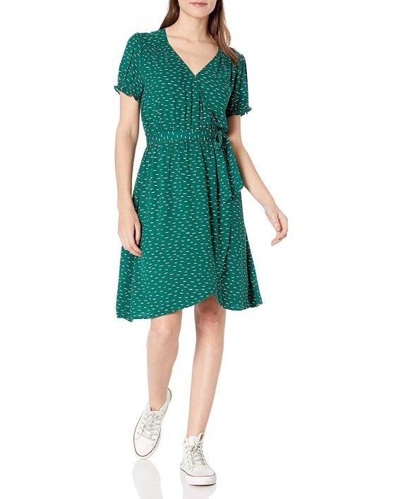 Brand - Goodthreads Women's Relaxed Fit Fluid Twill Faux Wrap Dress