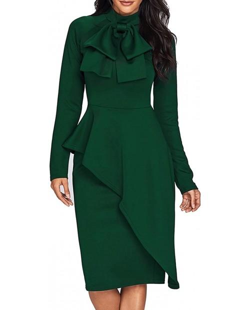 CILKOO Womens Tie Neck Peplum Waist Long Sleeve Bodycon Business DressS-XXL at Women's Clothing store