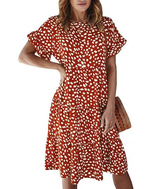 ECOWISH Women's Polka Dot Dress Ruffle Sleeves Boho Pleated Swing Blouse Dresses at  Women's Clothing store